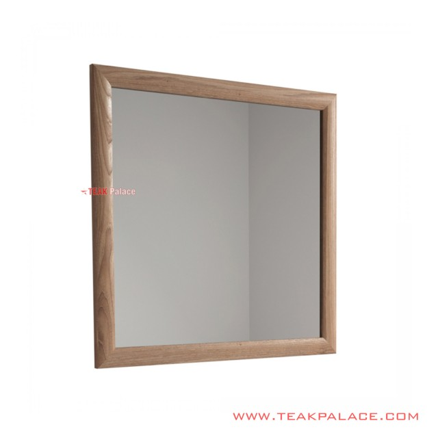 Wall Mirror Jimmy Square Frame Light Salak Brown Teak Wood