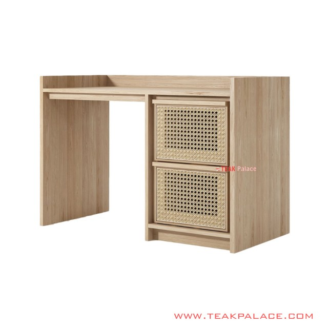 Study Desk Natural Teak Wood Minimalist With Woven Rattan Adela Series