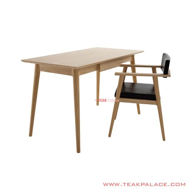 Louis Study Desk Set Chair Minimalist Natural Teak Wood