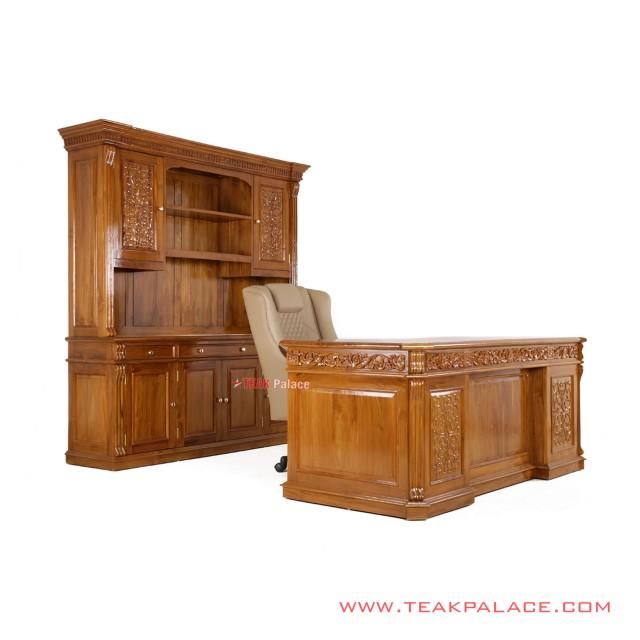 Teak Minimalist Palembang Office Desk Set