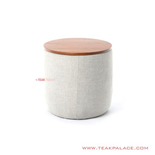 Bangku Cafe Kain Rivoli Cloud Top Sit Teak Wood Seri Desta