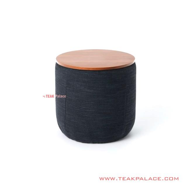 Cafe Stool Teak Wood Salak Brown Black Fabric Desta Series