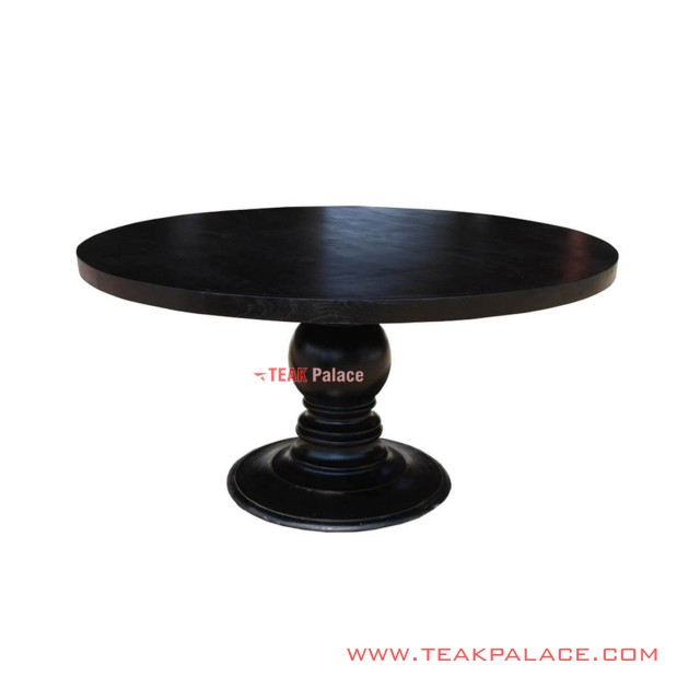 Black Minimalist Round Imogiri Dining Table
