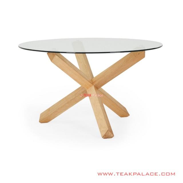 Dining Table Leaf Table Teak Natural Glass Teak Gauri Series