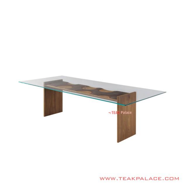 Teak Riplles Minimalist Glass Dining Table