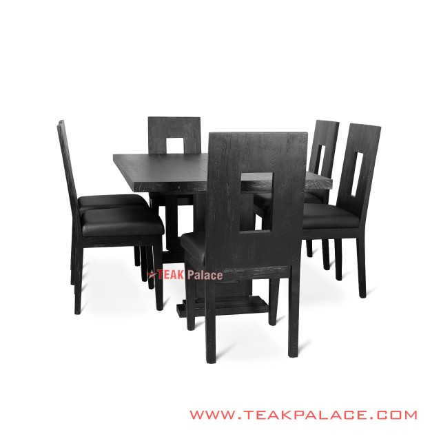 Minimalist Dining Table 6 Black Antique Malaka Chairs