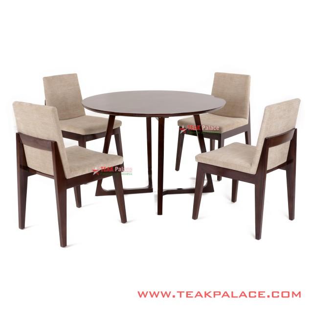 Dining Table Chair Set Minimalist Teak Revina Cream