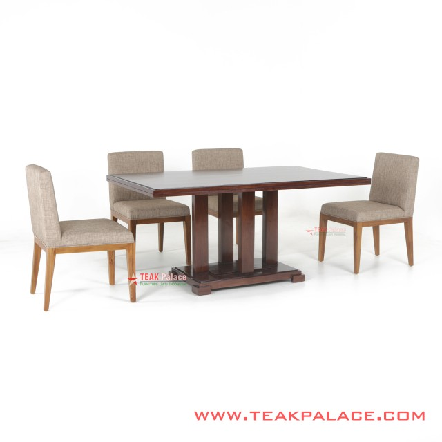 Dining Table Set Minimalist 4 Seater Cream Tegal Series