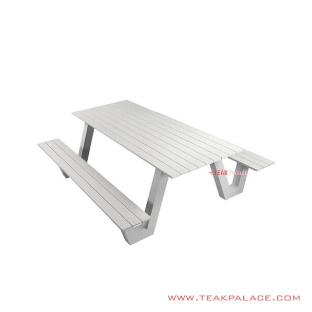 Set Meja Taman 6 Orang Alphina Minimalis Putih