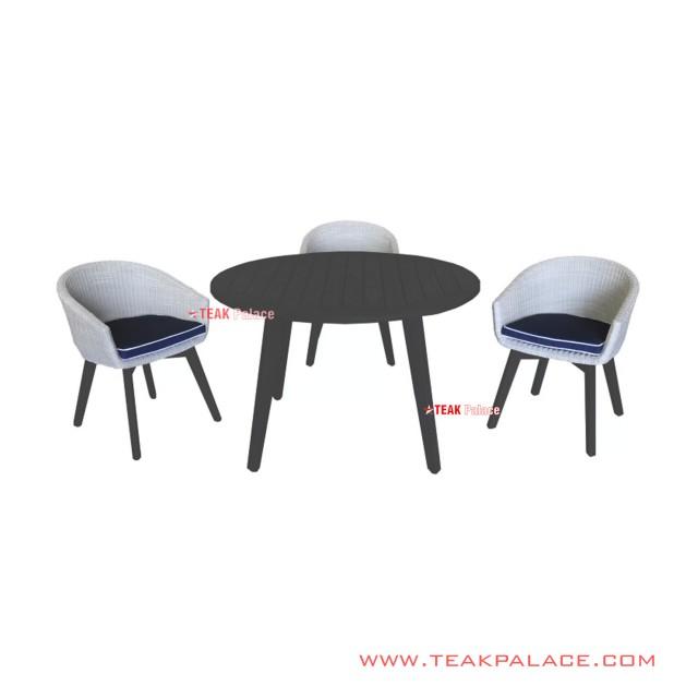 Set Meja Makan 3 Kursi Black Duco Putih Minimalis Seri Natasha