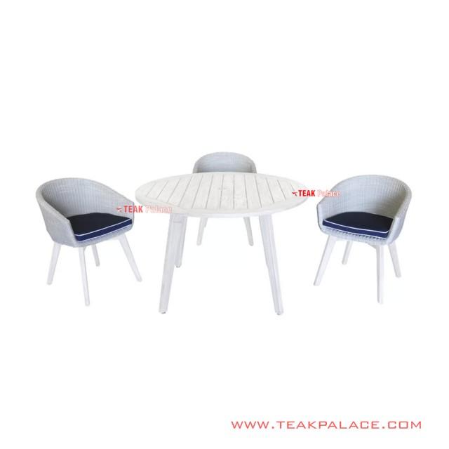 Dining Table Set 3 Person Minimalist White Natasha Series