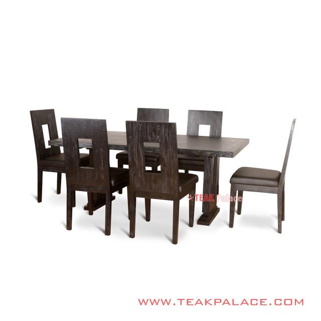 Minimalist Malaka Teak Leather Dining Chairs