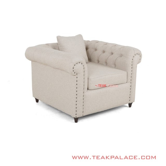Single Sofa Minimalist Cream Linen ChesterField Series