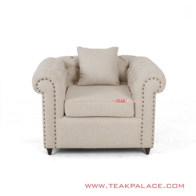 Single Sofa Minimalis Cream Linen Chesterfield