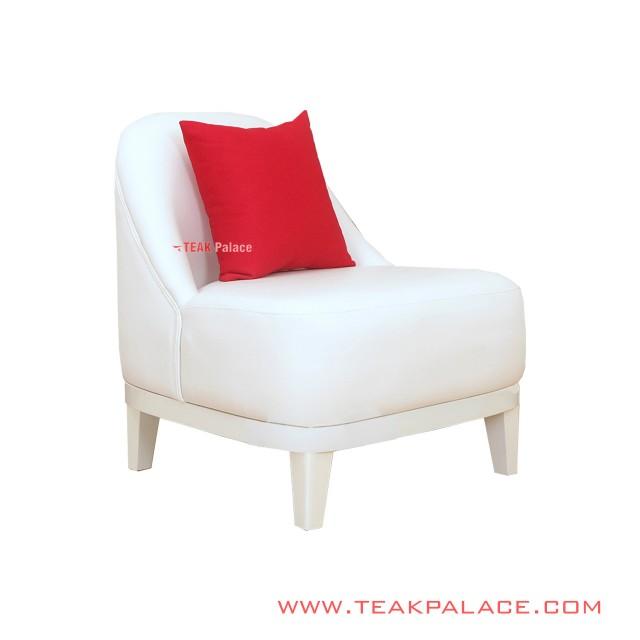 Sofa Minimalist Oval White 1 seat Lampung