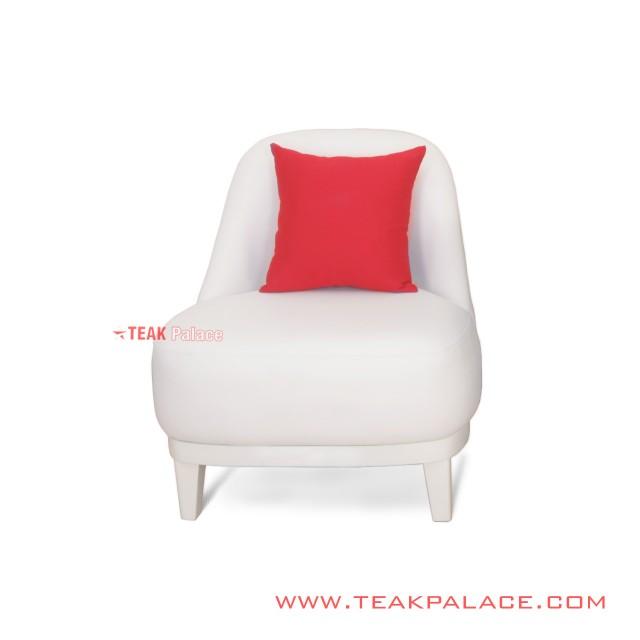 Kursi Sofa Minimalis Single Oval Putih Lampung