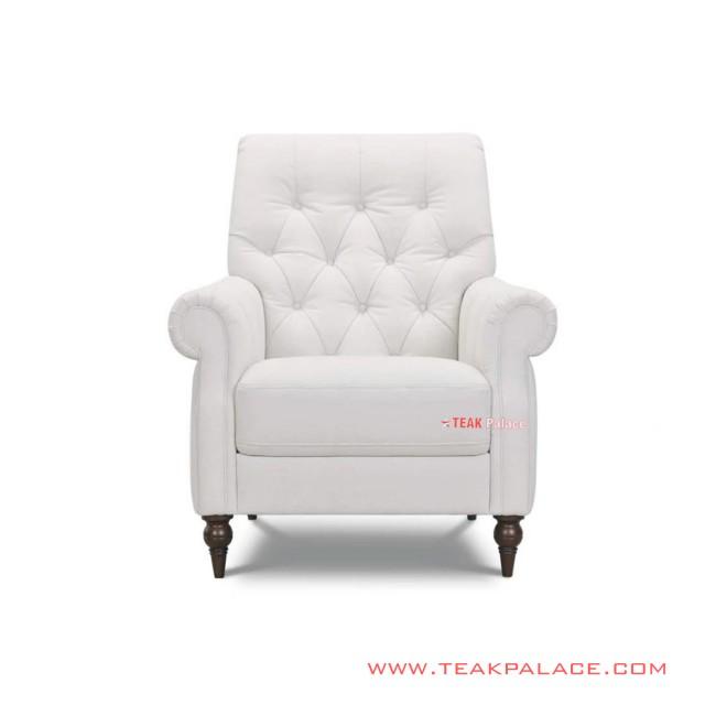 Sofa Single Belmont White Jati Minimalis