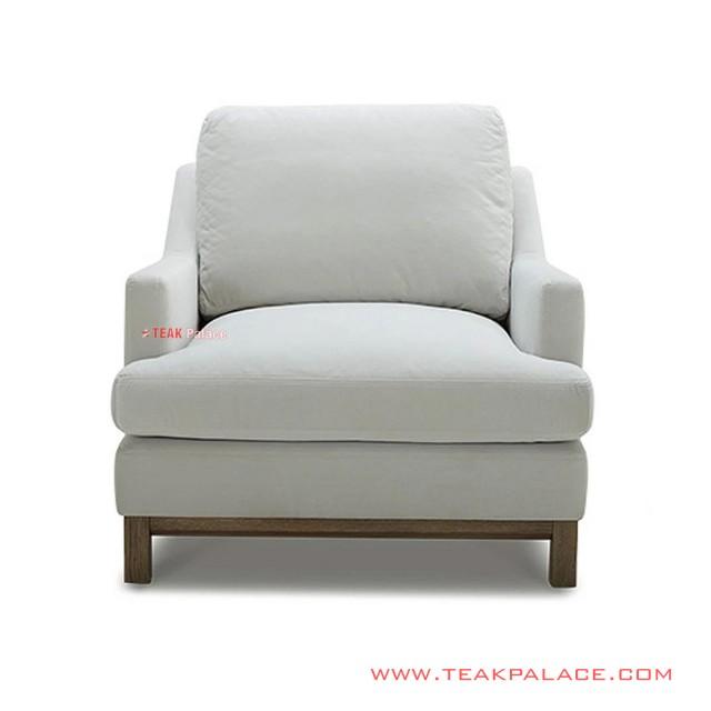 Minimalist Teak Hamilton White Armchair