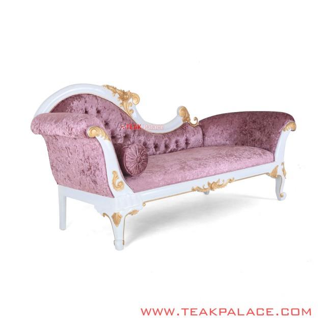 Sofa Santai Kayu Jati Ukir Warna Putih Ungu Seri Dahlia