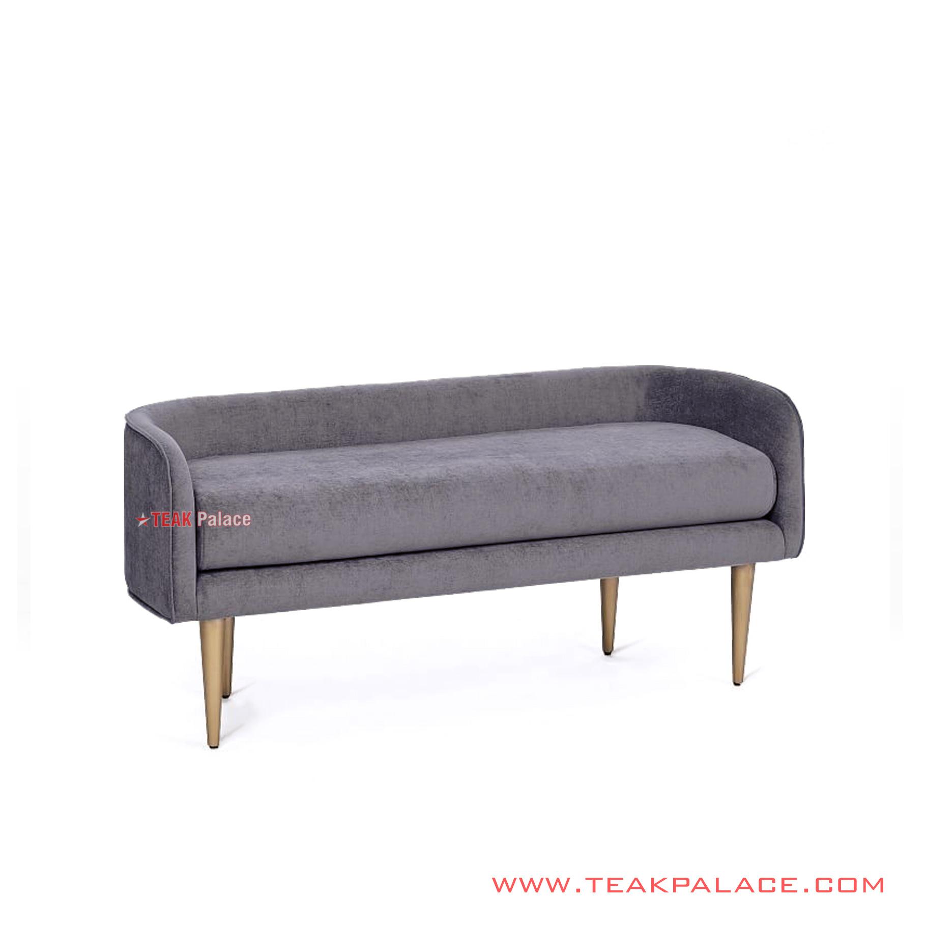 Living Room Bench Teak Gold Fabric, Living Room Bench