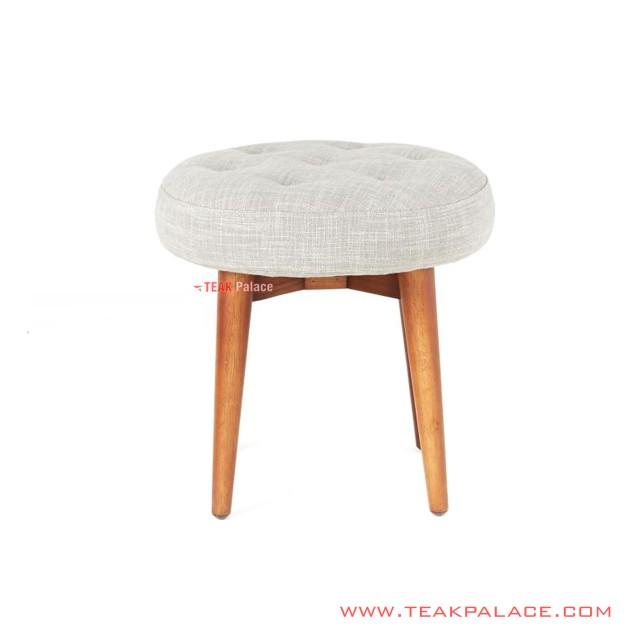 Single Bench Teak Wood Rivoli Cloud Fabric Bingo Series