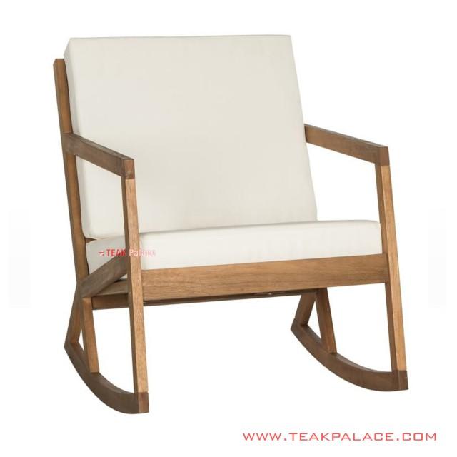 Rocking Chair Minimalist Vernon With Cushion White