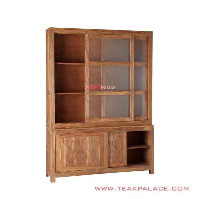 Cabinets Natural Teak Display Sliding Cirebon Series