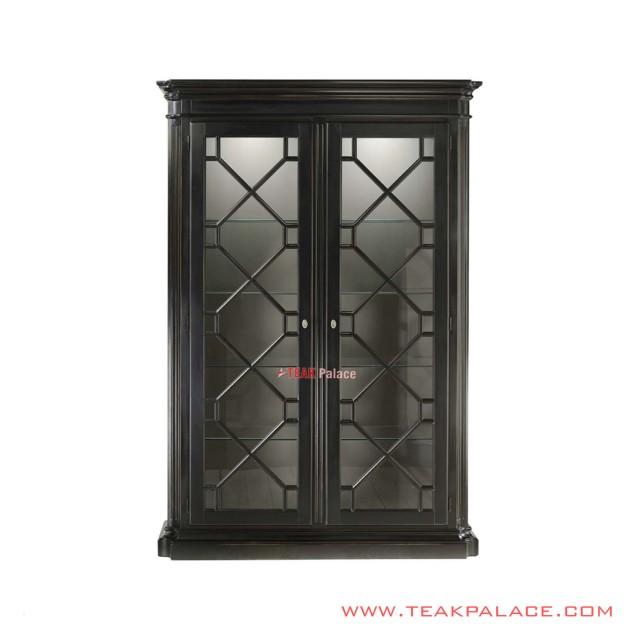 Minimalist Black Wina Teak Display Cabinets