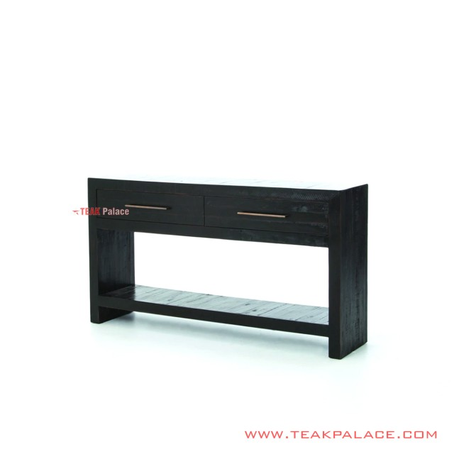 Black Teak Console Table Elvira Minimalist Series