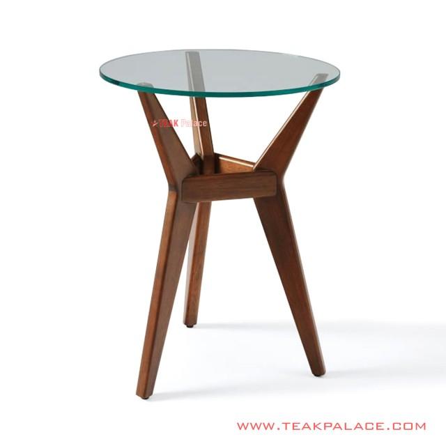 Chibia Glass Minimalist Round Teak Corner Table