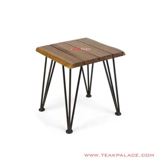 Angola Minimalist Iron Leg Corner Table Salak Brown