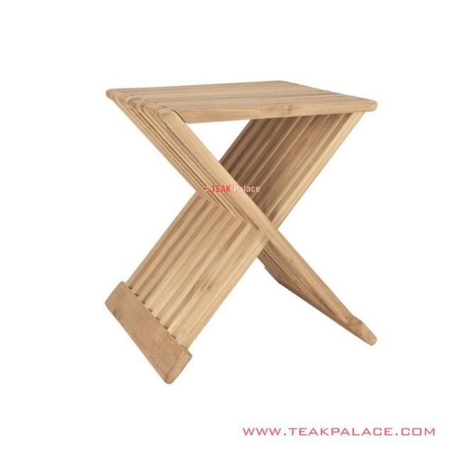 Balero Minimalist Natural Teak Folding Corner Table