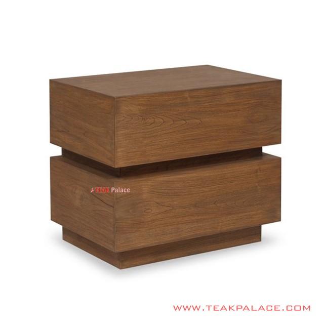 Meja Kotak Sudut Minimalis Salak Brown Tanes Jati Solid
