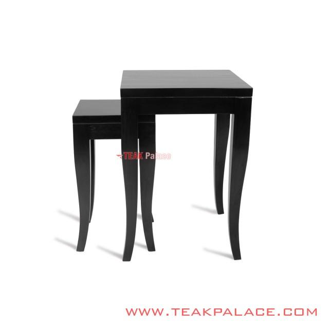 Corner Table Set of Black Teak Wood Sena series