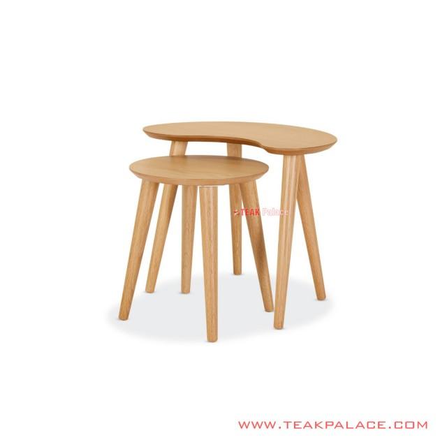 Corner Table Set of Natural Wood Ziram Series