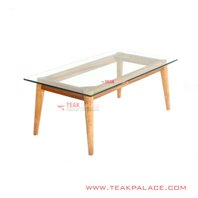 Living Table Glass Teak Retro Emma Series