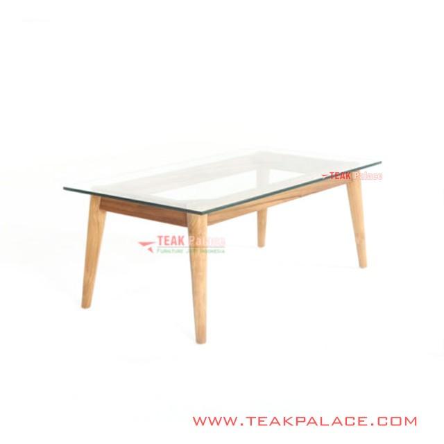 Living Table Glass Teak Retro Emma Series