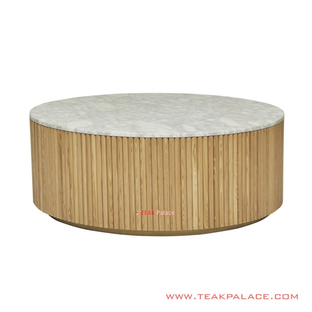 Teak Table Natural Round Top Marble Ivina