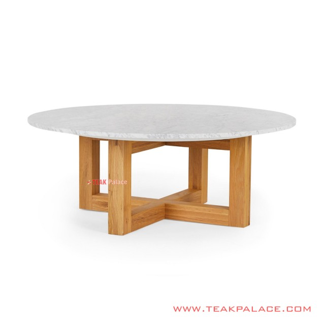 Round Guest Table Marble Leaves Cikeas Series