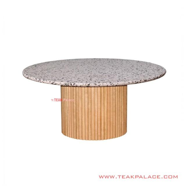 Round Teak Coral Dining Table Minimalist