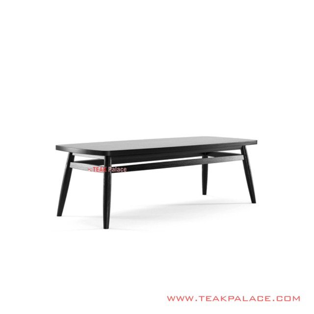 Belva Black Minimalist Teak Wood Guest Table