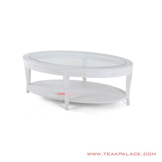 Coffe Table Ovale Duco Putih Minimalis