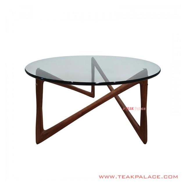 Minimalist Teak Wood Glass Dining Table 90 cm Zagi Black Walnut