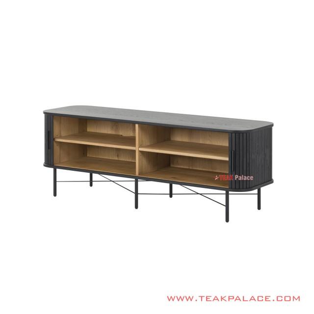 Sideboard Ivina 200 Cm Black Minimalist Teak Wood