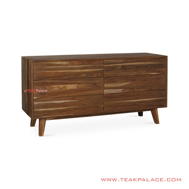 Buffet 6 Drawer Jati Minimalis Salak Brown Seri Dominic