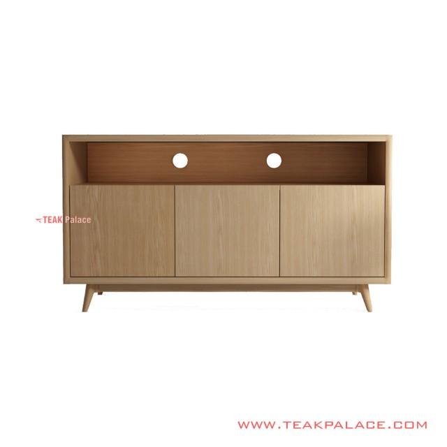 TV Table Anton Natural Teak Wood Minimalist 3 Doors