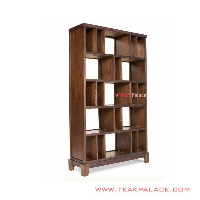 Bookcase Display Cabinets Minimalist Classic Teak Wood Bima Series