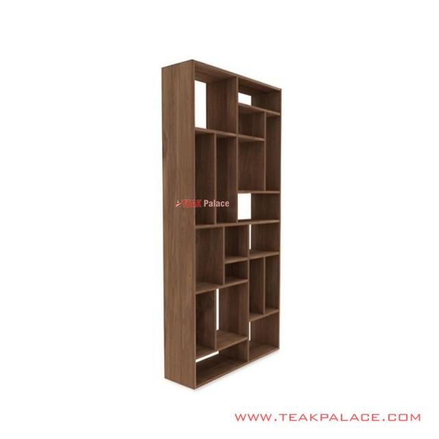 Ornamental Display Shelf Minimalist Teak Mondrian Series