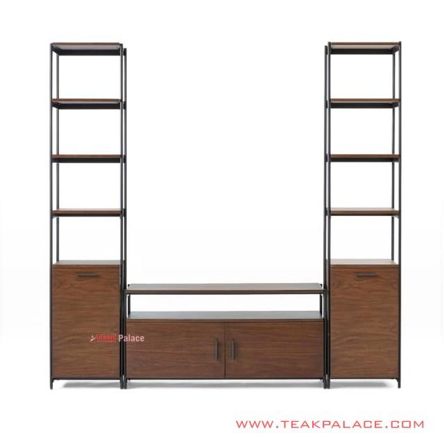 Set Rack TV Table for Iron Teak Wood Minimalist Foundry Series