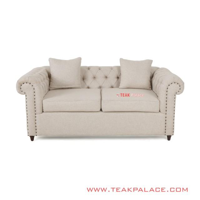 Sofa Chesterfield 2 Dudukan Warna Cream Linen